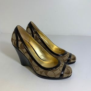 Coach Signature Wedge Heels Size 7